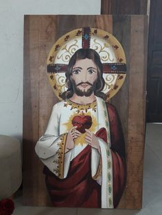 Quadro de Jesus pintado a mão em madeira de demolição Image Jesus, Jesus Christ Images, Jesus Art, Catholic Art, Catholic Saints, Religious Art, Angel Artwork, Heart Of Jesus, Blessed Virgin Mary