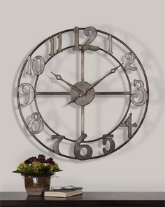 uttermost delevan large wall clock with open design - Large Decorative Wall Clocks