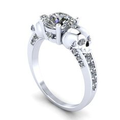 ladies diamond ring and silver skulls more - Skull Wedding Rings