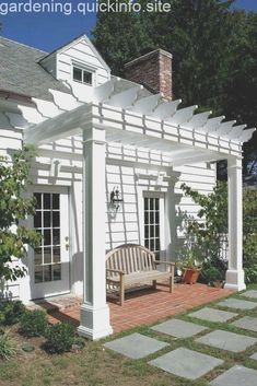 white pergola would look great on the back of our white home! off of the patio This white pergola would look great on the back of our white home! off of the patio Vinyl Pergola, Metal Pergola, Wooden Pergola, Backyard Pergola, Pergola Shade, Pergola Plans, Pergola Ideas, Aluminum Pergola, Metal Roof
