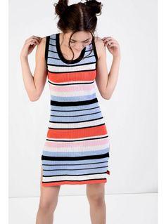 Dusty Blue Pink Stripe Bodycon Dress