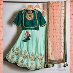 """The colour of sea breeze the colour of blue lagoon cocktail the colour of freshness... Its all about the colour of mint : Presenting a new shade of """"pistachio"""" in our signature #lehengas It is a great hit for the coming #wedding seasons and we are super excited to introduce it in our range of products. So girls what are you waiting for??? DM us to place your orders today and get ready to get flattened in a fabulous combination of pistachio with peach and bottle green. Whats not to love?…"""