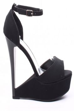 BLACK NUBUCK FAUX LEATHER ANKLE STRAP PLATFORM CUTOUT WEDGE