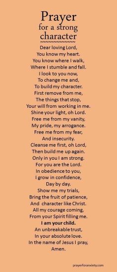 Prayer for a strong character.