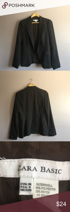 "Zara Basic Women's EUC  Dark Brown Blazer Size 4 Beautiful blazer Size 4 in excellent condition. From a smoke-free and pet-free home. Offers are always welcome. Bundle for additional savings. 1 business day shipping.  shoulder to shoulder: 15.5"" armpit to armpit: 17"" shoulder to hem: 25.6"" sleeve length: 24.5"" Zara Jackets & Coats Blazers"