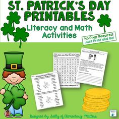 St. Patrick's Day Printables for Literacy and Math- These St. Patrick's Day printables will make your life easier, and make learning fun for the children! These were designed for second graders to practice literacy and math skills.