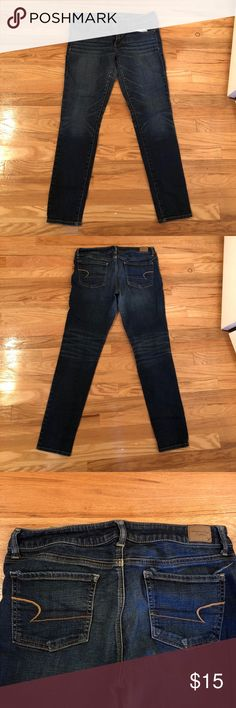American Eagle women's High rise jogging American Eagle women's high rise skinny jegging, med dark wash, women's size 12, worn only a few times. American Eagle Outfitters Jeans Skinny