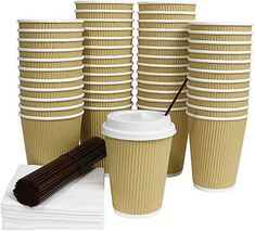 Galashield 12 Oz Disposable Coffee Cups with Lids 50 Pack Hot Paper Ripple Cup with Stirring Straws and Napkins Best Coffee Cup, Coffee Shop, Coffee Lovers, Coffee Maker, Coffee Cubes, Coffee Drinks, Disposable Coffee Cups, Cool Cafe, Plastic Cups