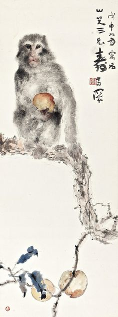 YANG SHANSHEN (1913-2004). MONKEY  WITH  LONGEVITY  PEACH, 1968, ink  and  colour  on  paper, 89x33.5 cm.
