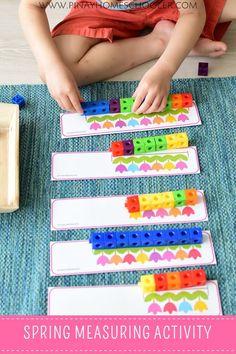 Spring Preschool and Kindergarten Learning Materials Measurement Activities, Math Activities For Kids, Spring Activities, Preschool Activities, Kindergarten Learning, Teaching, Math Centers, Busy Boxes, Easter