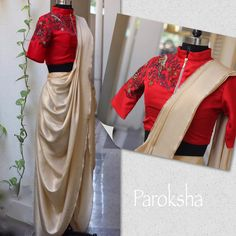 Beautiful parrot embroidery work on red crop top with saree from Paroksha Design House.  19 April 2017