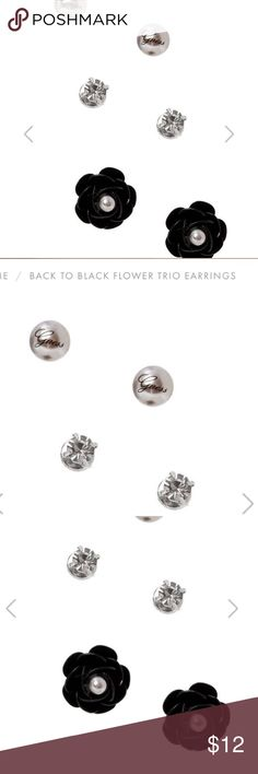 New Guess BACK TO BLACK FLOWER TRIO EARRINGS studs Wear these together or alone – no matter what you choose, your style will look hot & ready to party. Set of three stud earrings includes flowers, pearls, and rhinestones designs. Tiny logo on pearl. Post back Nickel and lead free. Matching bracelet also available on another listing. Bundle & save on shipping! Guess Jewelry Earrings