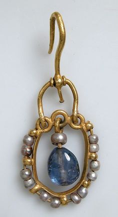 6th–7th century, Byzantine. Gold, sapphire, pearl. These elegant earrings are decorated with pearls, a favorite jewel of the Byzantines. Sapphires, then called hyakinthoi (hyacinths), became popular in Byzantine jewelry in the sixth century.