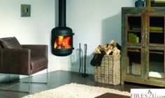 The Dik Geurts Britta woodburning stove is one of the most elegant and versatile wood stoves in the range. With its contemporary cylindrical design and beautiful curved glass, it will be admired as much for its good looks as it will for its warmth and comfort.  This striking wood stove can be installed in wall-mounted, corner-mounted or suspended arrangements. Either way, it is sure to be the centre of attention in any living room.