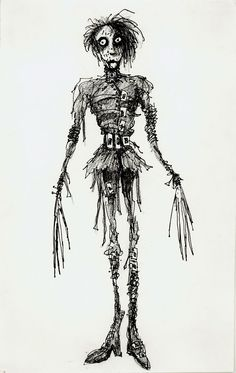"Illustration for ""Edward Scissorhands"" by Tim Burton - Costume Designer : Colleen Atwood. Tim Burton Sketches, Tim Burton Art Style, Tim Burton Stil, Tim Burton Artwork, Tim Burton Kunst, Film Tim Burton, Tim Burton Drawings Style, Tim Burton Characters, Tim Burton Museum"