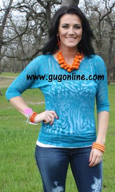 Seconds SALE  Teal Animal Print Simple Tunic- NOW IN PLUS SIZE $5.00 Small-3XL www.gugonline.com