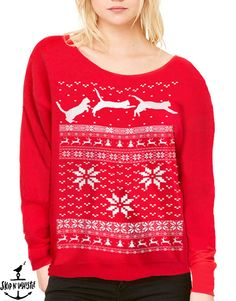 Ugly Christmas sweater women's Cat jumping in by skipnwhistle