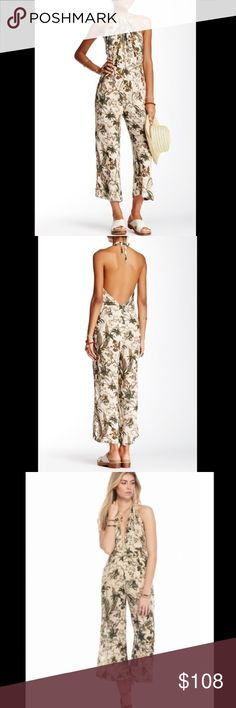 $108 @ FREE PEOPLE Printed jumpsuit romper In a lightweight crinkly rayon this printed wide leg one-piece jumpsuit is featured in a halter silhouette with an adjustable tie at the neck. Plunging neckline with an open back and hidden back zip closure. Lined 2520259 RETAIL: $108 SIZES: 4, 6, 8, 10, 12 ❗️PLEASE SELECT A # SIZE AT CHECKOUT ❗️ I also have this listed in pink and black ❤I have over 300 new with tag Free People items for sale! I love to offer bundle discounts! ❤No trades. Please…