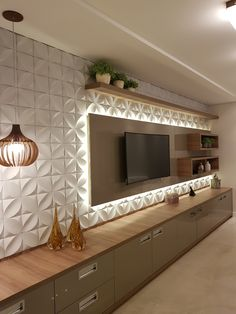 Sala de estar, projeto arquiteta Melissa Martins Silveira (instagram @arq.melissa), que usa revestimentos 3d em placa cimentícia com iluminação indireta e pendentes. Drawing Room, Tv Cabinet Design, Tv Unit Design, Tv Wall Design, House Design, Girls Bedroom Furniture, Tv Furniture, Furniture Design, Bedroom Decor