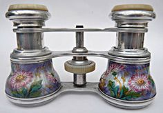 FINEST FRENCH ANTIQUE 19THC OPERA GLASSES GUILLOCHE ENAMEL FLOWERS WHITE METAL.