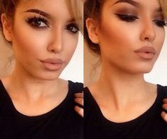 soft browns. natural makeup and nude lip with bold brows and contour