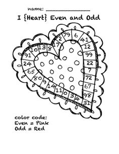 This Valentine color sheet will be a quick refresher for even and odd numbers.  Graphic courtesy of KPM DoodlesFor more freebies and ideas,...