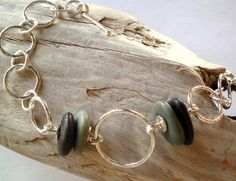 Bracelet  Chain  Sterling Silver  Beach Stones  by rmddesigns, $55.00