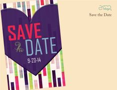 Bright colored Custom Save the Date by EmDesign.