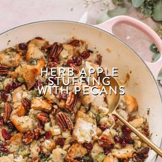 An easy Herb Apple Stuffing with Pecans recipe studded with festive Fall flavors is sure to be a hit at Thanksgiving! Serve with turkey, pork or chicken. Turkey Stuffing Recipes Thanksgiving, Apple Stuffing, Homemade Stuffing, Best Thanksgiving Side Dishes, Turkey Recipes, Chicken Stuffing, Stuffing Recipe With Apples, Best Turkey Stuffing, Thanksgiving Ideas