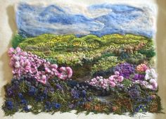 Learn all the textile techniques you need to make stunning textile art landscapes at http://www.colouricious.com/shop/fabric-painting-embroidery-textile-art