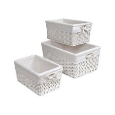 Badger Basket Wicker 3 Piece Basket Set with Liners & Reviews | Wayfair
