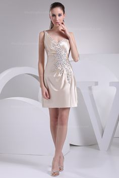 One shoulder with lots beading work above knee length satin bridesmaid dress
