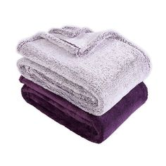 There's no need to settle on just one style with these Extra-Fluffy Frosted and Solid Throw Blankets from Berkshire Blanket & Home Co. This set includes 2 ultra-soft blankets; one with a solid finish and the other beautifully frosted. Big Fluffy Blanket, Purple Throw Blanket, Fluffy Blankets, Throw Blankets, Home Decor Bedding, Bedding Shop, Room Decor, Cute Pjs For Women