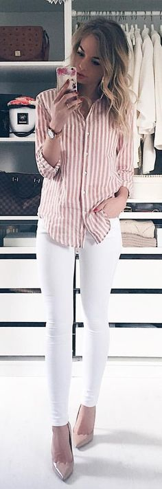 #spring #outfits Pink Striped Shirt + White Skinny Jeans + Nude Pumps