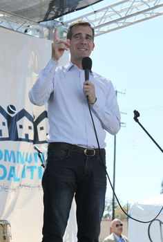 Mayor of city of Los Angeles, Eric Garcetti, gave a speech to South LA residents about Obamacare.