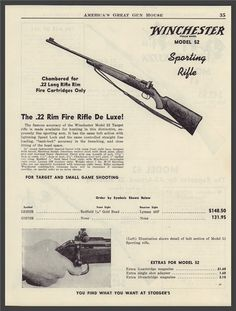 1950 WINCHESTER Model 52 Sporting Rifle PRINT AD : Other Collectibles at…