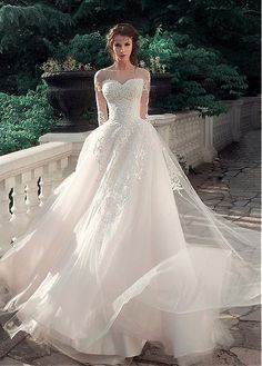 Buy discount Glamorous Tulle & Satin Bateau Neckline A-Line Wedding Dresses With Lace Appliques at Magbridal.com