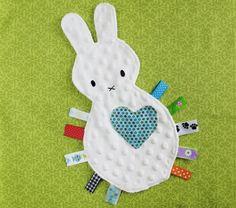 Bunny Tag Blanket/ Lovey Toy. $18.50, via Etsy.