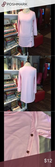 Size medium pink tunic Closet clearing! Never worn or washed. Beautiful pink with asymmetrical shell type buttons tunic top. There are no tags, probably polyester combination with stretch. Perfect for spring summer fall winter, with jeans shorts pants skirts leggings.   Please check out my other quality listings. All sales final.   Tags: rose animals carly maxi classic tee tunics nicole pants cassie joy julia lindsay randy amelia azure sarah Tops Tunics