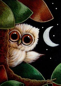 TINY OWL - 1ST FALL LEAVES   http://www.ebsqart.com/Artist/Cyra-R-Cancel/11049/Art-Portfolio/TINY-OWL-1ST-FALL-LEAVES/723720/