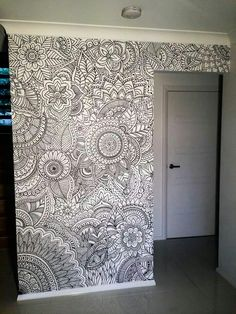 Zentangle a wall. This is a great example of home decor with doodling or Zentan… Zentangle a wall. This is a great example of home decor with doodling or Zentangles. zentangle doodle doodles Pin: 720 x 960 Mandala Mural, Mandala On Wall, Mandala Tapestry, Sharpie Art, Sharpies, Sharpie Doodles, Wall Drawing, Art Drawings, Zentangle Patterns