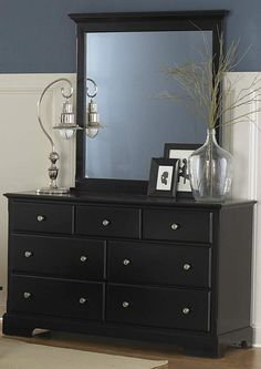 Louis Philippe Traditional Cappuccino Dresser & Mirror | Dressers ...