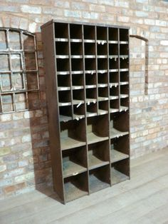 Vintage Industrial Metal Pigeon Holes Shelving Unit Shop Display