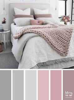 Bedroom colour palette - would look stunning with some gold accents! The perfect bedroom color palette! Bedroom ideas interior design bedroom makeover bedroom inspiration pretty bedding bedroom accessories home Pale Pink Bedrooms, Mauve Bedroom, Blush Pink And Grey Bedroom, Mauve Bedding, Bedding Sets, Grey Painted Bedrooms, Master Bedroom Grey, Grey And White Room, Mauve Walls