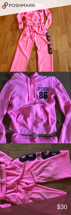 Victoria secret hoodie/ sweatpants XS Great condition!! I love this outfit it is very comfortable, I have only worn a couple of times ! There is a really small hole in pocket that I can sew up PINK Victoria's Secret Tops Sweatshirts & Hoodies