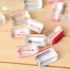 Creativa Kawaii sellos cristalino lindo pequeño sello estampilla del diario de bricolaje bendición almohadilla de tinta sello claro para Scrapbooking tinta sellos