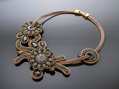 Old gold graphite necklace soutache with Hematite. by ANBijou