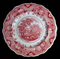 ANTIQUE ENGLISH STAFFORDSHIRE RED ROMANTIC TRANSFERWARE PARISIAN CHATEAU PLATE!