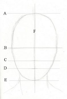 Drawing lesson for Beginner artists: Proportions of the face, front view - Step…