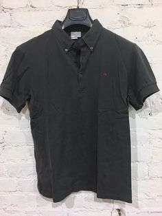 J Lindeberg Pique Button Down Collar Polo Size Large Cotton Gray | eBay